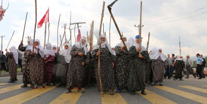 Arkeoloji Müzesine kızan köylü kadınlar, yolu trafiğe kapattı