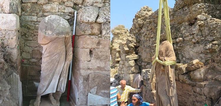 Side'de biri kadın biri erkek iki Romalı heykeli bulundu