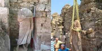 Sidede biri kadın biri erkek iki Romalı heykeli bulundu