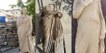 Sidedeki arkeoloji kazısında 3 roma devri heykeli bulundu