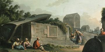 Restorasyonu becerilemeyen Opramoas anıtının çizimi