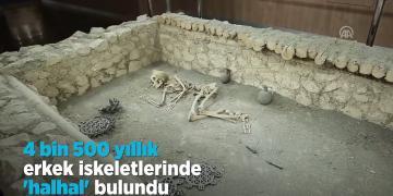 4500 yıllık halhallı erkek ve silahlı kadın iskeleti bulundu