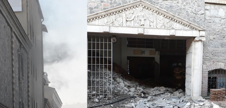 İzmir'de restore edilen binada yangın çıktı