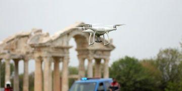 Afrodisyas Antik Kenti drone desteğiyle korunuyor