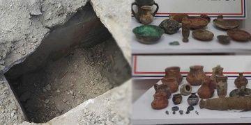 Kamyon tekerleği tarihi eser dolu mezarı ortaya çıkardı