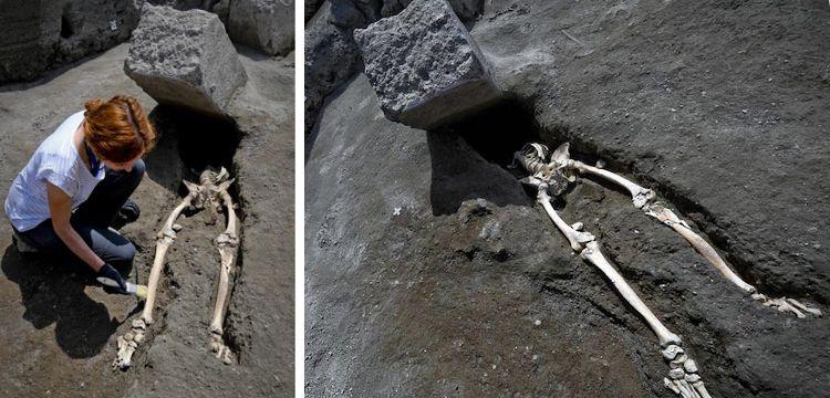 Lavlardan kaçarken taşın altında ezilen talihsiz Pompeiili