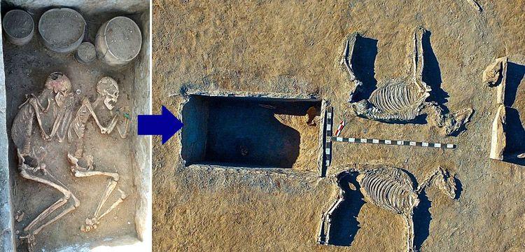 Kazakistan'da bir çift at arabası şeklinde 5 bin yıllık mezarda bulundu