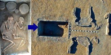 Kazakistanda bir çift at arabası şeklinde 5 bin yıllık mezarda bulundu