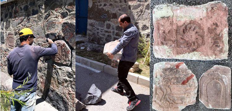 Osmanlı mezar taşları örüldükleri duvardan sökülerek korumaya alındı