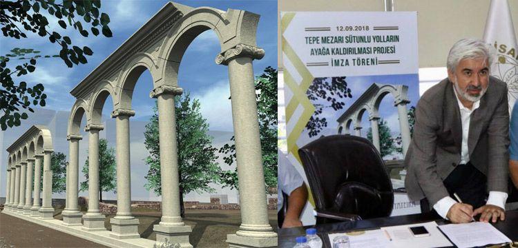 Thyateira antik alanı yol sütunları ayağa kaldırılacak