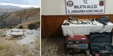 Malatyada 3 defineci kazdıkları 6 metrelik kuyuda suçüstü yakalandı