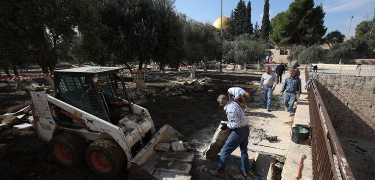 Mescid-i Aksa'nın Er-Rahme Kapısındaki çökme onarıldı