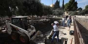 Mescid-i Aksanın Er-Rahme Kapısındaki çökme onarıldı