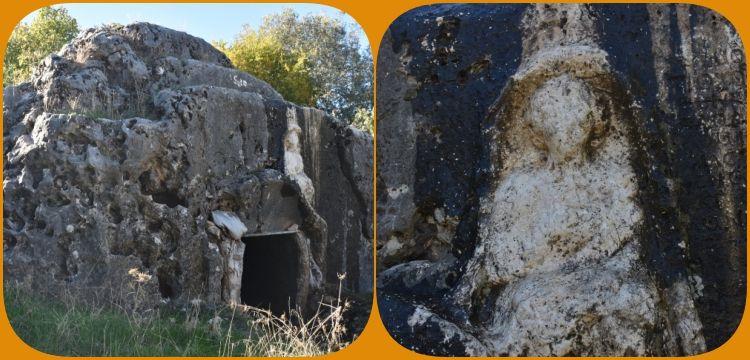 Adıyaman'da girişinde kadın kabartması olan kaya mezar keşfedildi