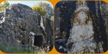Adıyamanda girişinde kadın kabartması olan kaya mezar keşfedildi