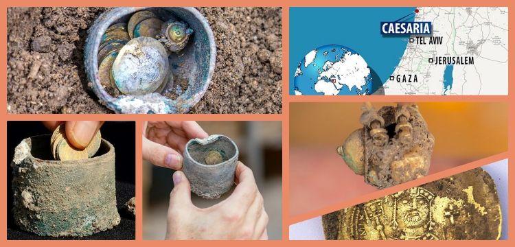 Kayserya limanında Bizans altınlarıyla dolu bronz kap bulundu