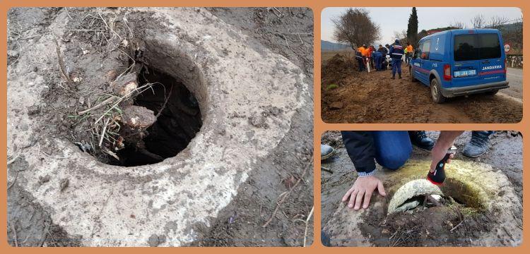 İzmir'de yol çalışmasında tarihi mermer kuyu bulundu