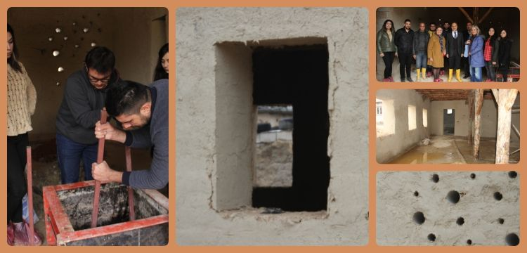 HKÜ Mimarlık Fakültesi kerpiç teknolojisi dersi Barak evlerinde yapılıyor