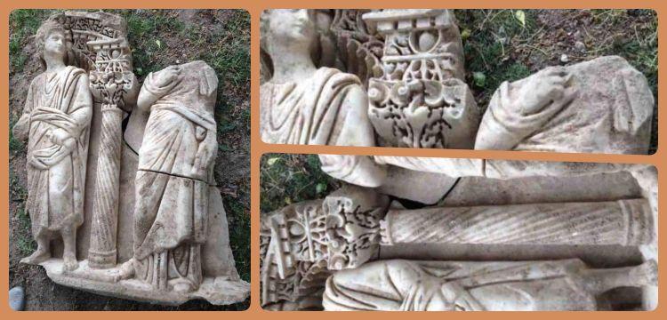 Isparta'da 1600 yıllık Sidamara tipi bir lahit parçası yakalandı