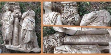 Ispartada 1600 yıllık Sidamara tipi bir lahit parçası yakalandı