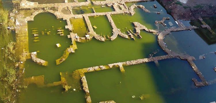 Kaptan Mustafa Paşa Vakıf Çarşısı arkeolojik bulguları su altında kaldı