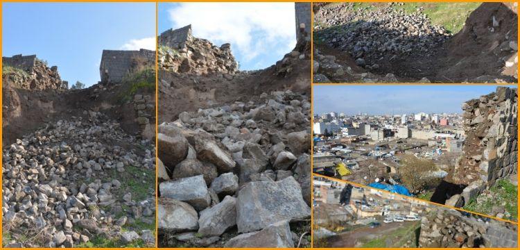 Siverek'te aşırı yağıştan dolayı tarihi Asur kalesinde göçük yaşandı