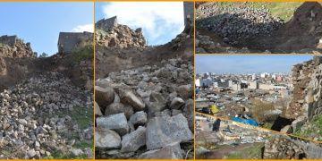 Siverekte aşırı yağıştan dolayı tarihi Asur kalesinde göçük yaşandı