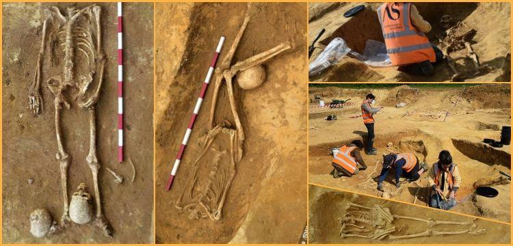 İngiltere'deki gizemli mezarlıktan kafası koparılmış 17 iskelet çıktı