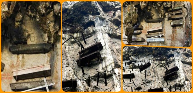 Hava Mezarlığına tabut asma geleneği binlerce yıldır yaşatılıyor