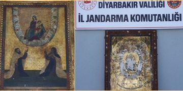 Diyarbakırda 5 kişi altın işlemeli iki tablo ile birlikte yakalandı