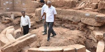 A Buddhist circular stupa remains found at Kondaveedu fort in India
