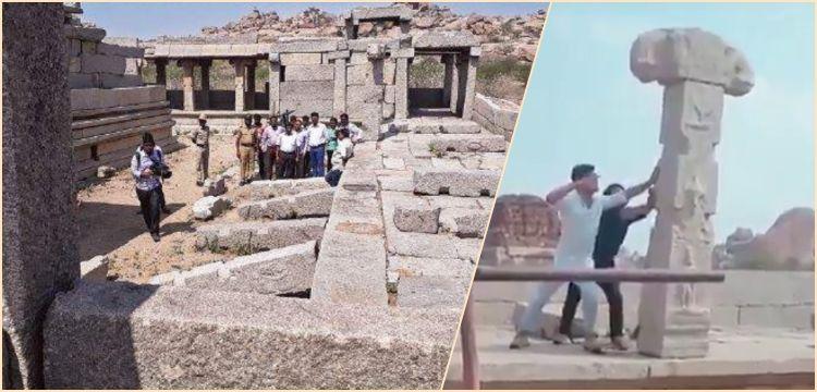 Hindistan tarihi tapınakta yıkılan sütun görüntülerini konuşuyor