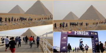 Tarihi Piramitlerin çevresinde koşmanın mutluluğunu yaşadılar
