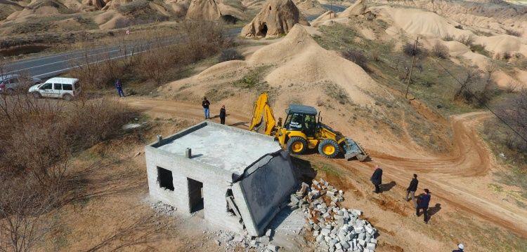 Kapadokyada kaçak yapı yıkımı genişliyor