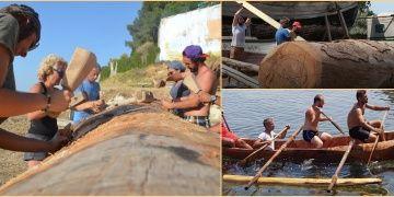 Türk arkeologlar taş aletlerle kütükten Cilalı Taş Devri teknesi yontuyor
