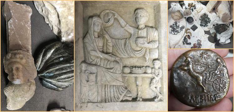 İstanbul'da mezar steli, mermer heykeller ve sikkeler yakalandı