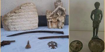 Denizlinin iki ayrı ilçesinde Roma dönemine ait tarihi eserler yakalandı