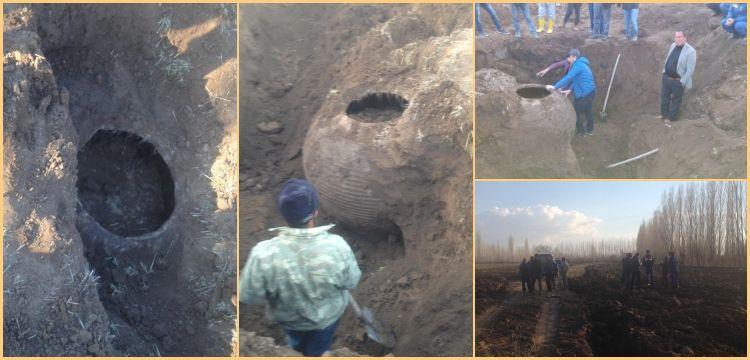 Kapadokyalı çiftçinin tarlasından Bizans küpü çıktı