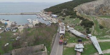 Saros Körfezine batırılacak dev uçak 6 tırla limana getirildi