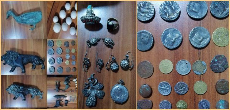 Erzurum'da  Hitit eseri olduğu sanılan 6 heykel ve 27 sikke yakalandı