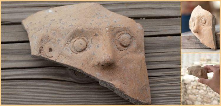 Kudüs'te insan yüzü tasvirli kil çömlek parçası bulundu