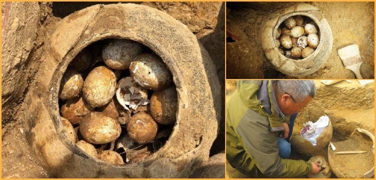 Çin'de bir çömlek dolusu 2 bin 500 yıllık kırılmamış yumurta bulundu