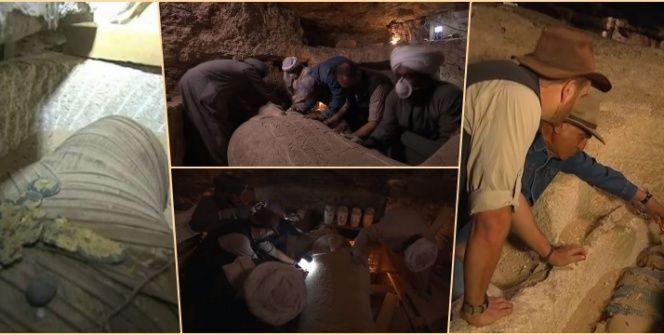 Mısırda ilk kez bir mumya mezarının açılışı TVden canlı yayınlandı