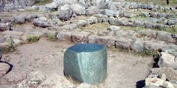 Big green mysterious stone in the Hittite capital