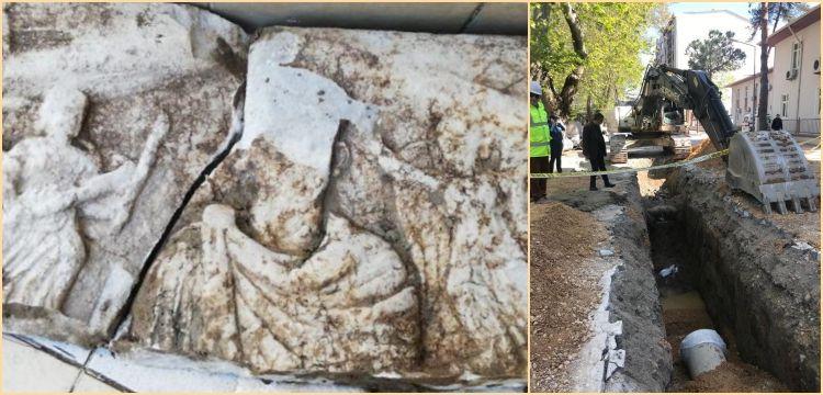 Susurluk'ta kanalizasyon çalışmasında tarihi kalıntılar bulundu