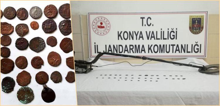 Konya'da defineci 2 kardeş Bizans Sikkeleri ile yakalandı