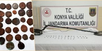 Konyada defineci 2 kardeş Bizans Sikkeleri ile yakalandı