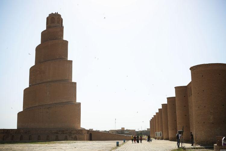 Irak'ın Mütevekkiliye Camisi'nin bin yıllık ünlü Melviye minaresi