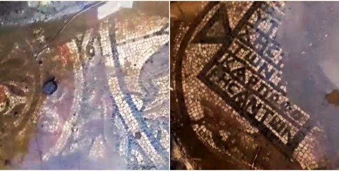 Çanakkalenin Lapseki ilçesindeki kaçak kazıda zemin mozaiği bulundu