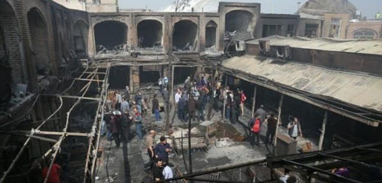 İran'daki Tarihi Tebriz Kapalı Çarşısı'ndaki yangında zarar 8 milyon lira